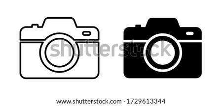 Camera photo. Vector isolated icon. Digital snapshot image black vector icons. Thin line vector.  EPS 10 ストックフォト ©