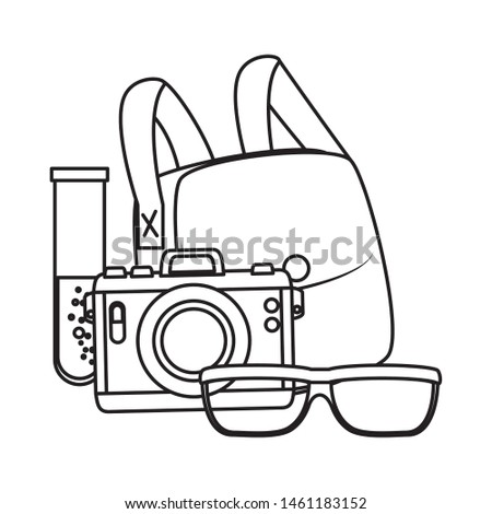 camera photographic and set icons
