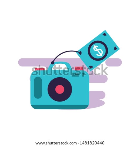 camera photographic digital with bills dollars