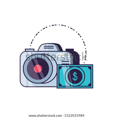 camera photographic digital with bills dollars vector illustration design