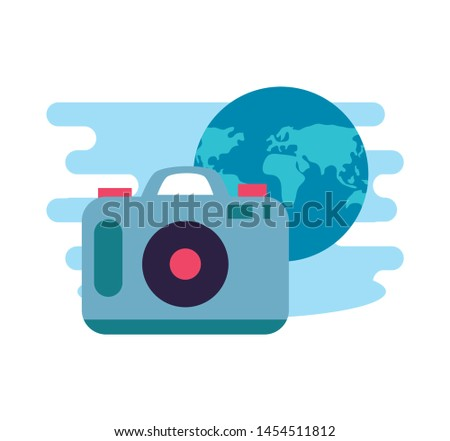 camera photographic digital with world planet