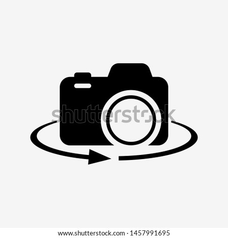 Camera-photographic equipment. 360-degree view. Vector illustration