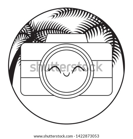 camera photographic kawaii with tropical palm in frame
