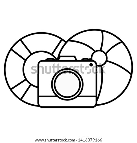 camera photographic with balloon and float