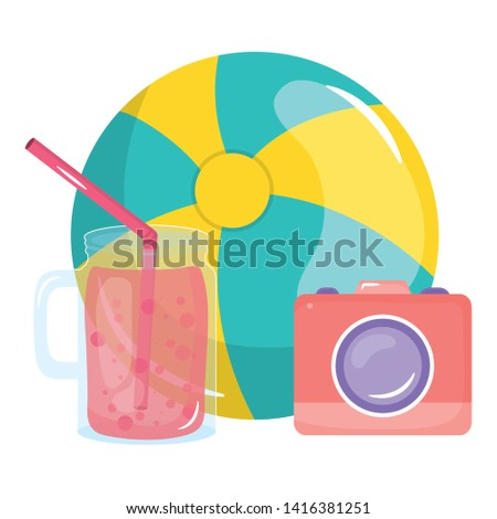 camera photographic with balloon and juice fruit