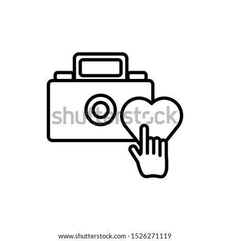 camera photographic with heart and mouse vector illustration design