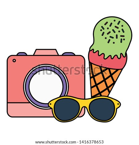camera photographic with ice cream and sunglasses
