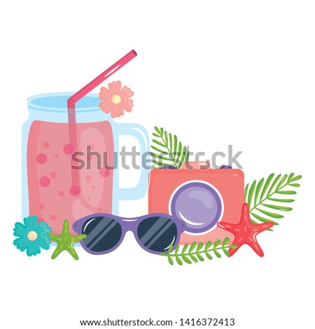 camera photographic with juice jar and sunglasses