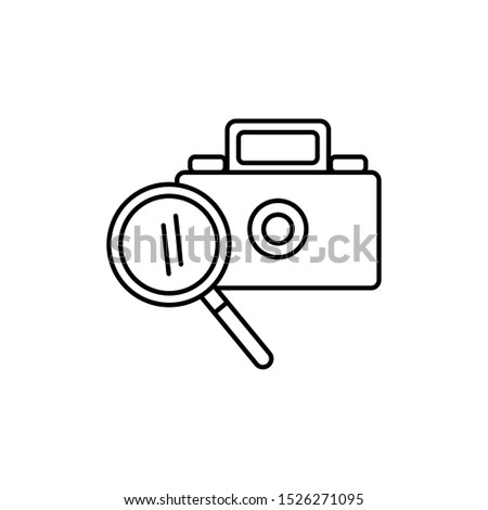 camera photographic with magnifying glass vector illustration design