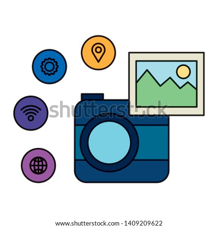 camera photographic with social media menu