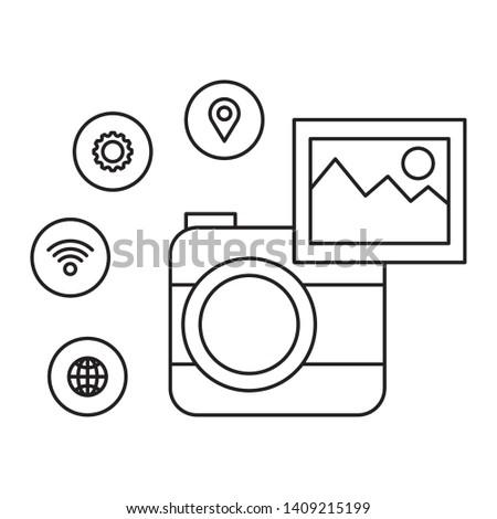 camera photographic with social media menu