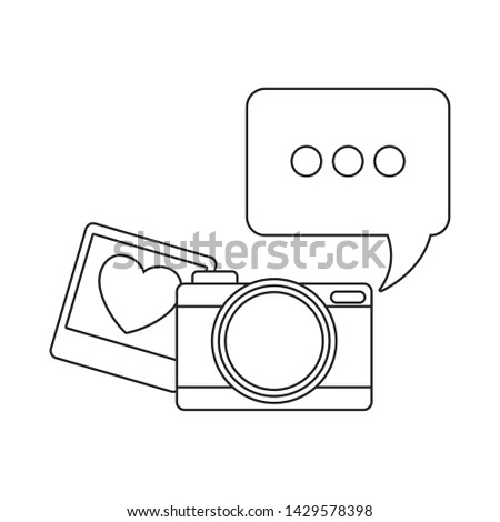 camera photographic with speech bubble