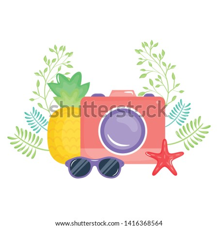 camera photographic with summer sunglasses