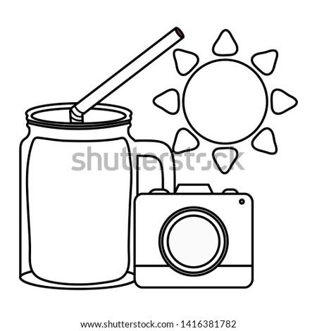 camera photographic with sun and juice jar