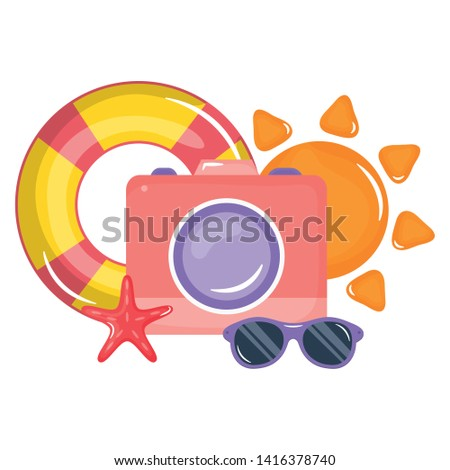 camera photographic with sunglasses and float