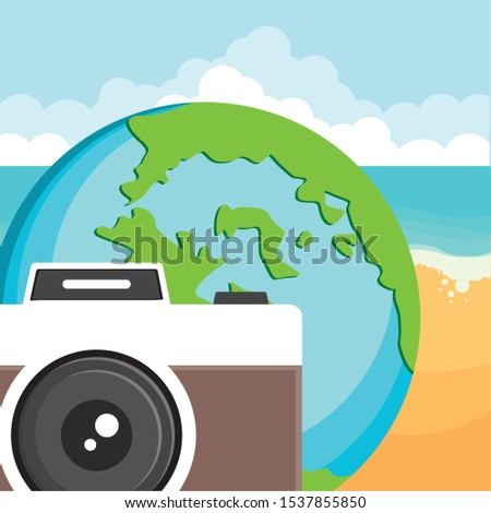 camera photographic with world planet earth vector illustration design