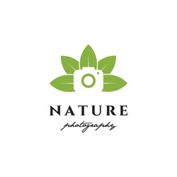 camera photography in leaves natural logo icon vector template