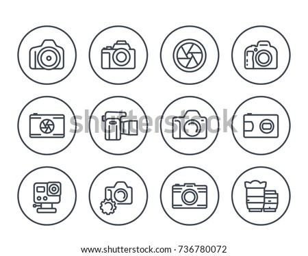 camera, photography line icons set on white, dslr, aperture, compact and action camera, lenses
