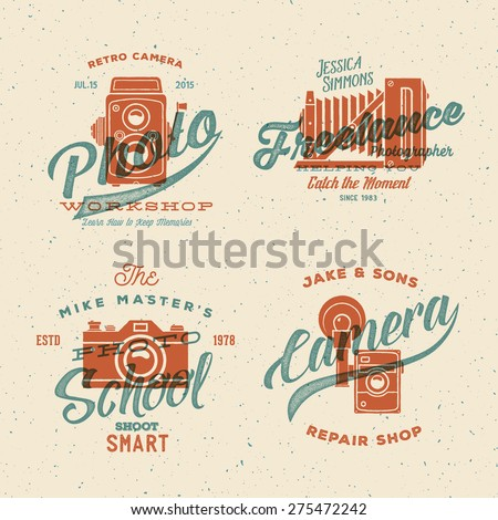 Camera Photography Vector Labels or Logos with Vintage Typography and Retro Print Effect. Textured Background.