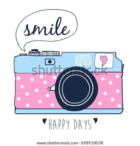 camera print design with slogan