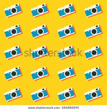 Camera Retro Vintage Seamless Pattern Background Vector Illustration
