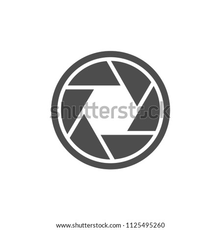 camera shutter icon, aperture value icon, objective lens symbol