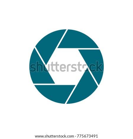 camera shutter icon, flat design best vector camera shutter illustration