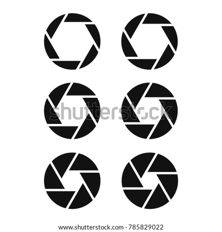 camera shutter icon set, aperture and photography