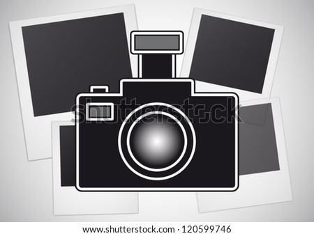 Camera sign modern illustration on frames background