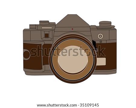 camera sketched on white background