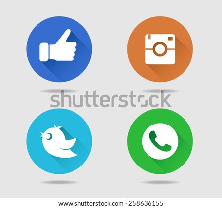 Camera, thumb, bird and telephone receiver flat icons with long shadow