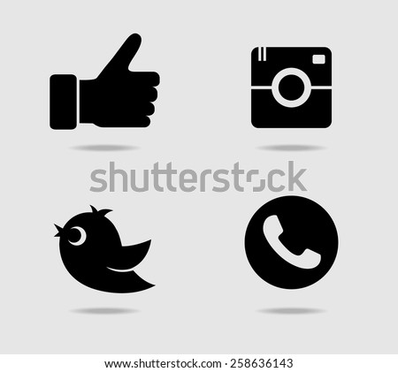 Camera, thumb, bird and telephone receiver icons #258636143