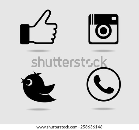 Camera, thumb, bird and telephone receiver icons #258636146