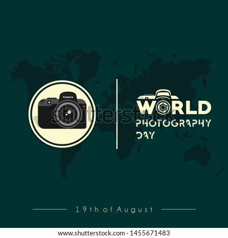 Camera Vector Design, World Photography Day with Green World Map Background