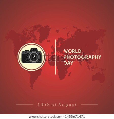 Camera Vector Design, World Photography Day with Red World Map Background