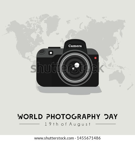 Camera Vector Design, World Photography Day with World Map Background