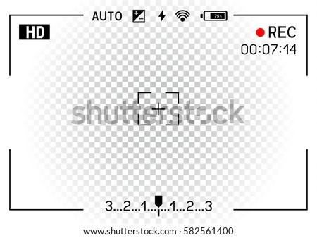 Camera viewfinder rec on transparent white background. Record video snapshot photography