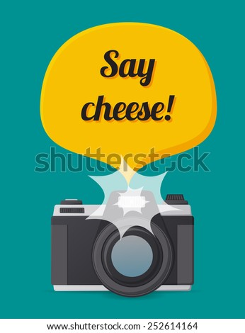 Camera with a say cheese note in flat style in vector ストックフォト ©