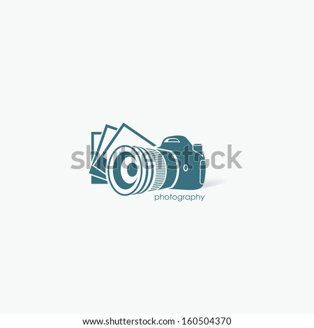 Camera with photos - vector illustration