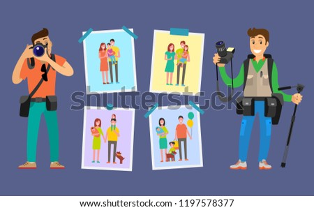 Cameraman making pictures of parents and children. Samples of studio works hanging on wall vector. Family photographers with digital cameras taking photos