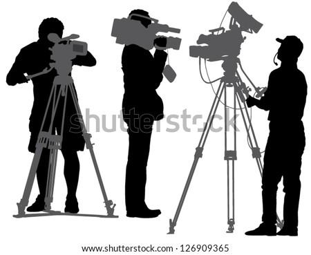 cameraman silhouette on white