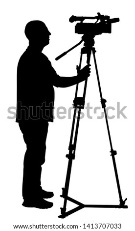 Cameraman vector silhouette with video camera on event, concert, sport match,  isolated on background. Reporter vector illustration.  Breaking news in studio. Broadcast in live. Video technology.