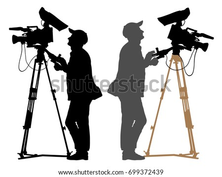 cameraman with a camera on a tripod. Video operator silhouette set