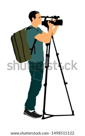 Cameraman with tripod with video camera on sport event vector illustration isolated on background. Concert reporter with backpack on duty. Breaking news in studio. Broadcast in live. Video technology.