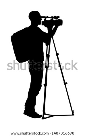 Cameraman with tripod with video camera on sport event vector silhouette isolated on background. Concert reporter with backpack on duty. Breaking news in studio. Broadcast in live. Video technology.
