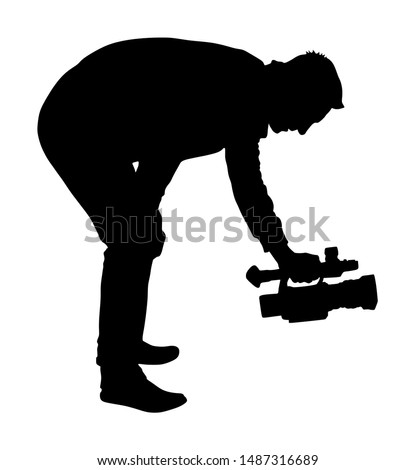 Cameraman with video camera on sport event vector silhouette isolated on background. Concert reporter on duty. Breaking news in studio. Broadcast in live. Video technology. Camera man outdoor job.