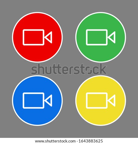 Cameras set, icons. Graphic template. Vector background