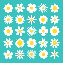 Camomile big set. White daisy chamomile icon. Cute round flower plant nature collection. Love card symbol. Growing concept. Decoration element. Flat design. Green background. Isolated. Vector