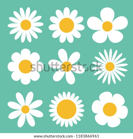 Camomile set. White daisy chamomile icon. Cute round flower plant collection. Love card symbol. Growing concept. Flat design. Green background. Isolated. Vector illustration