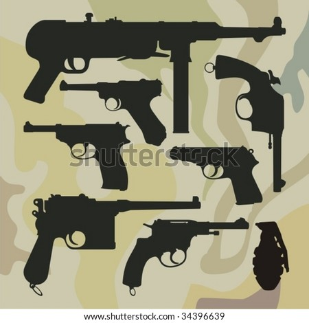 Camouflage background with machine-gan MP40, revolvers and pistols.